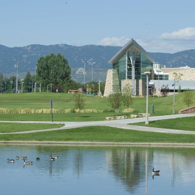The Lagoon on the west side of campus
