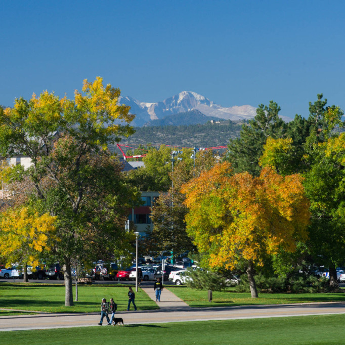 Mountain view on the west side of campus